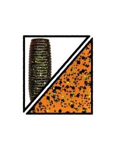 "Big Ika 5"" color 196 pumpkin/purpurina verde y negra"