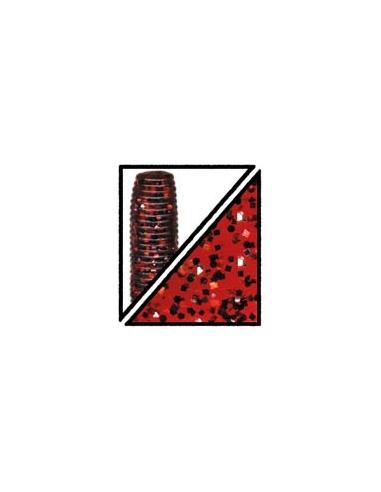 """Craw 5"""" color 185 rojo/purpurina plata y roja"""