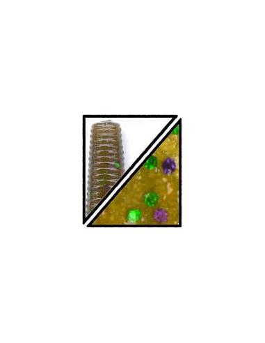 "Cut tail 5"" color 301 green pumpkin/purpurina verde y púrpura"